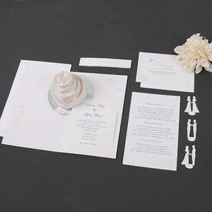 Set of 24 pop up wedding cake design invitations